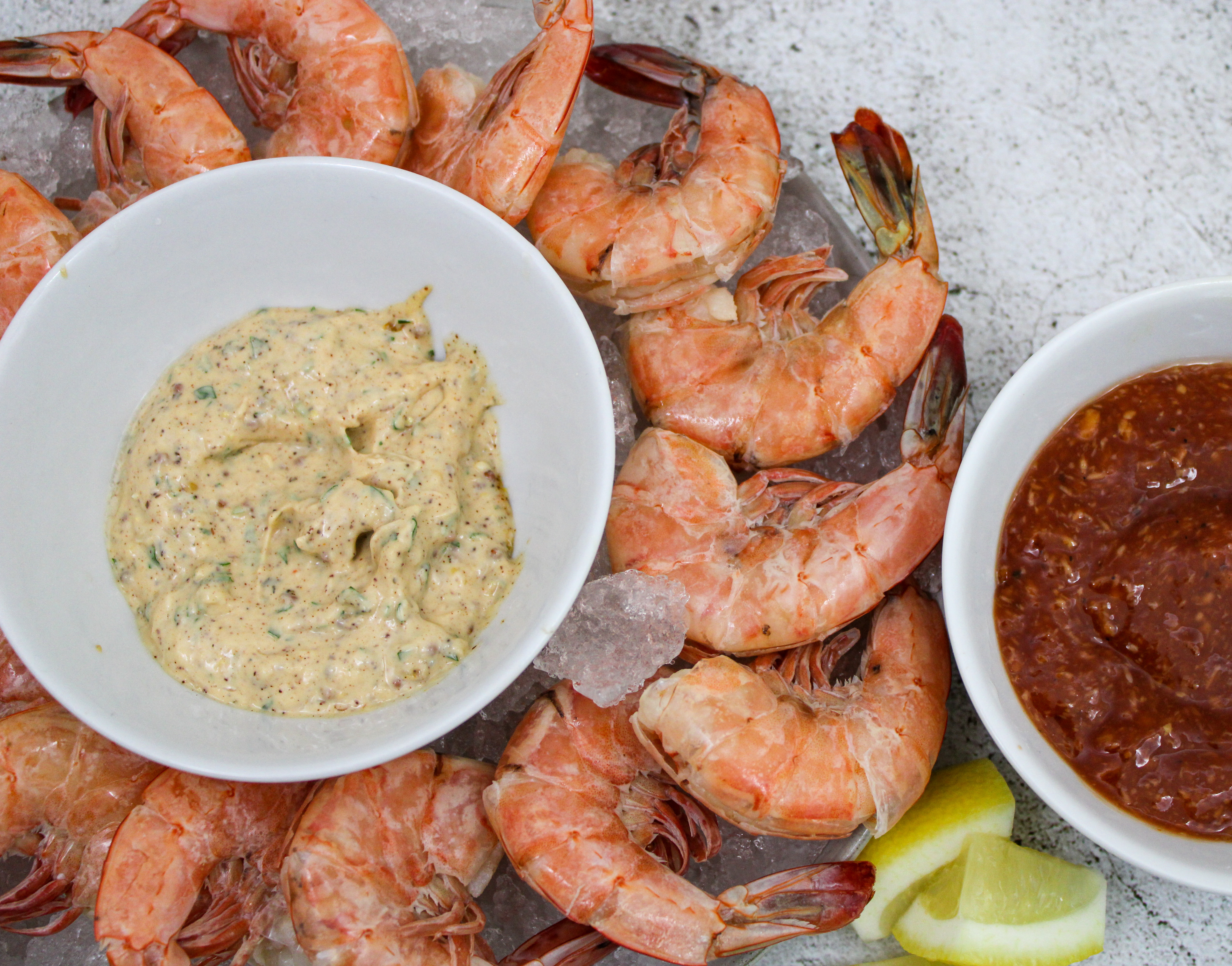 Peel & Eat Shrimp + Remoulade and Cocktail Sauce