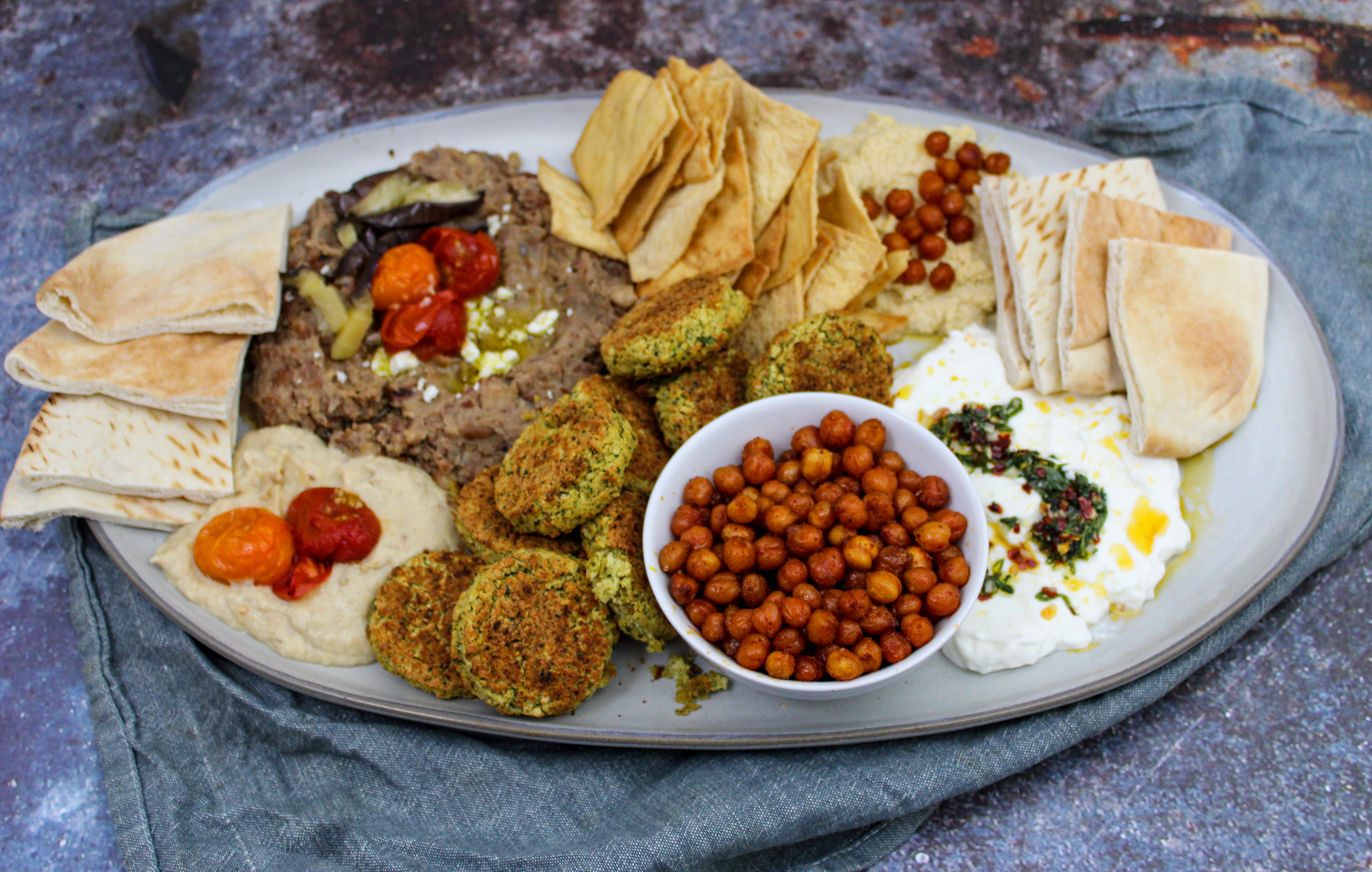 Oven Baked Falafel + All The Middle Eastern Dips You'll Ever Need