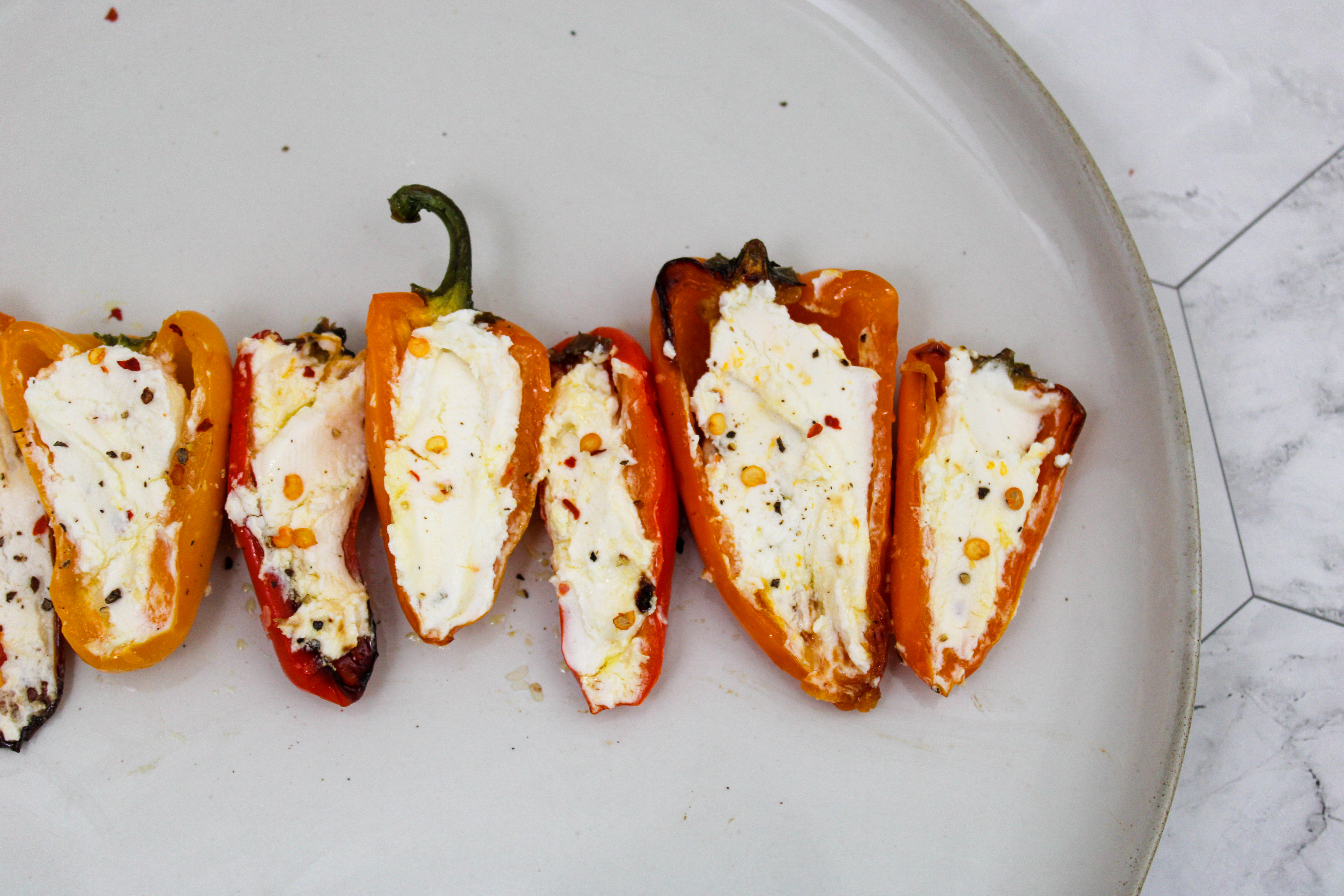 Roasted Sweet Peppers + Truffle Honey Goat Cheese