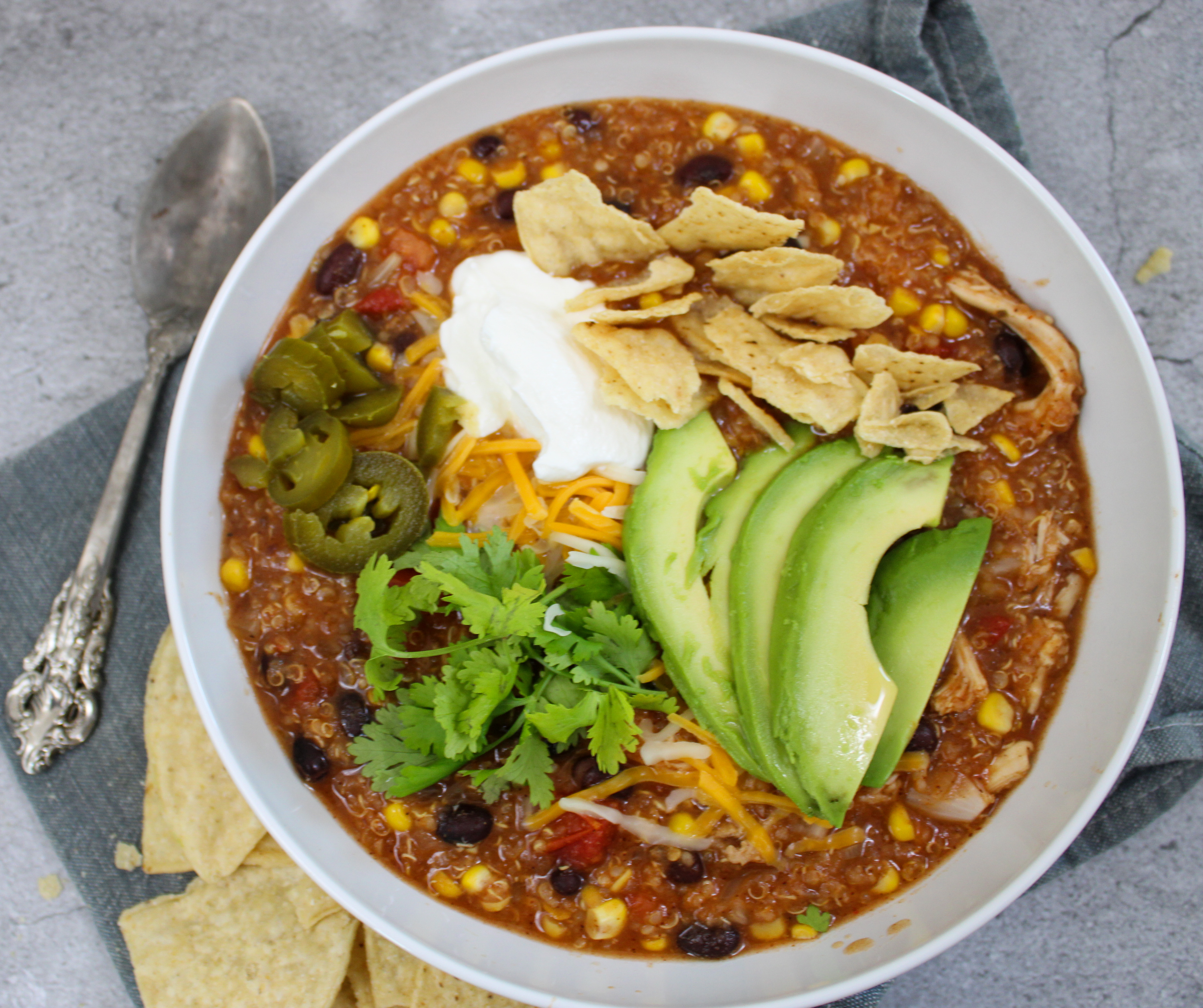 Crockpot Chicken + Quinoa Enchilada Soup