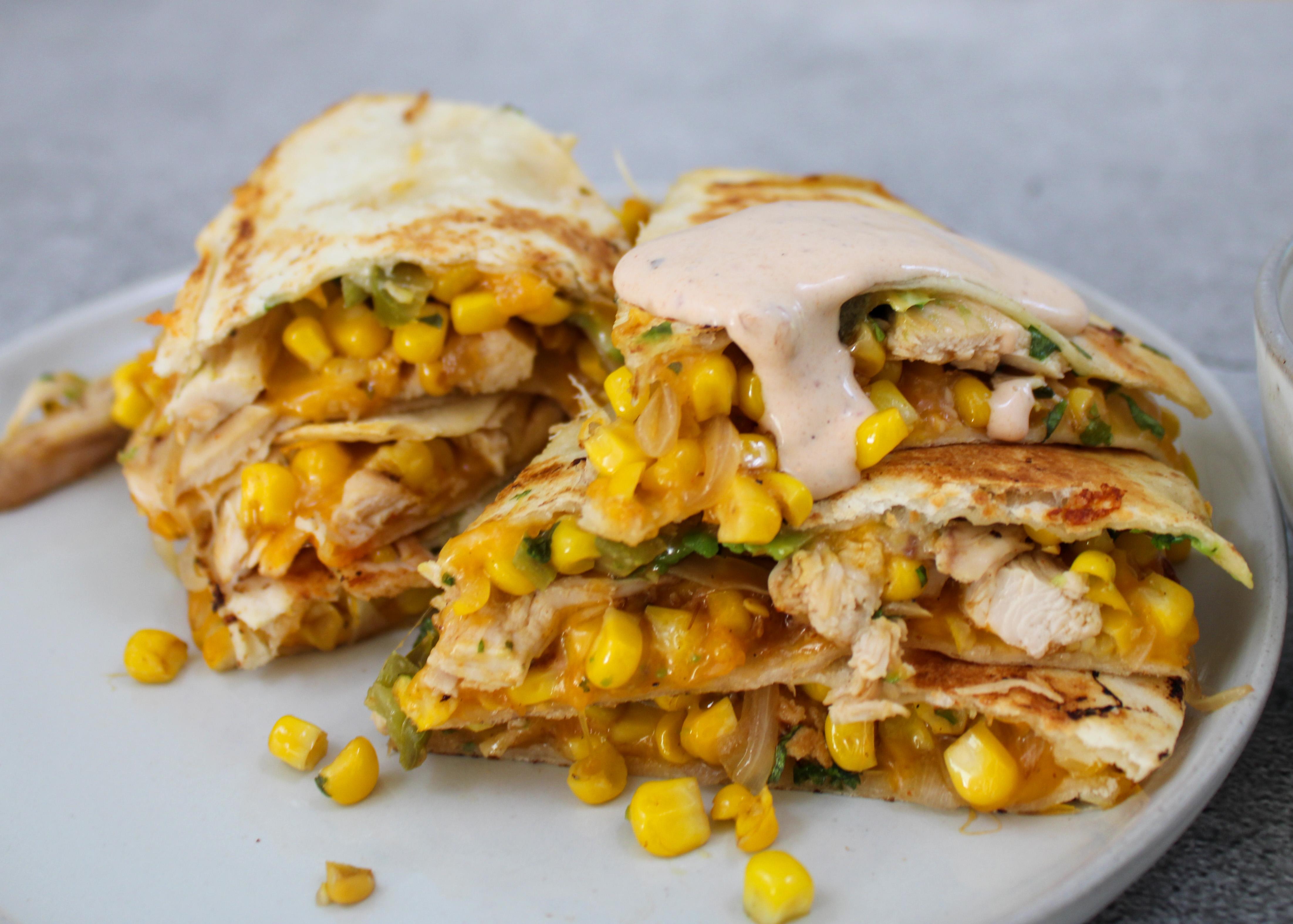 Loaded Chicken Quesadilla + Chipotle Ranch